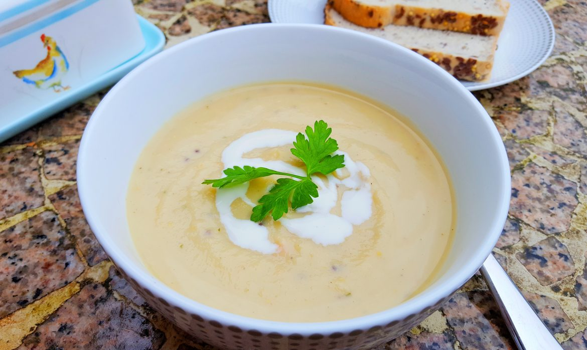 Parsnip and Butterbean Soup with a Honey-Miso-Mustard Kick