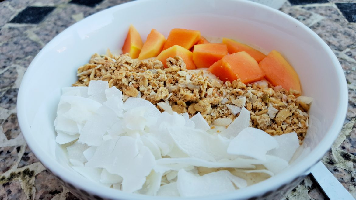 Peach and Pineapple Frozen Smoothie Bowl