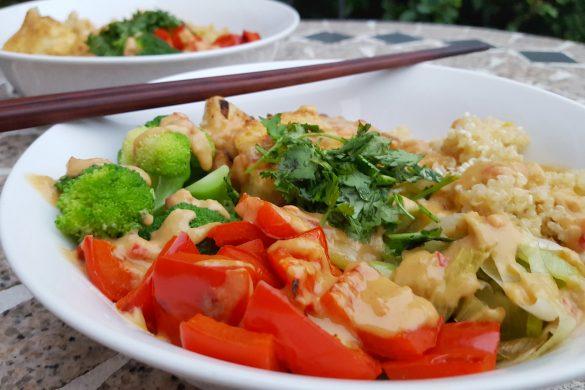 Coconut Quinoa, Tofu and Veggie Bowl with Spicy Peanut Sauce