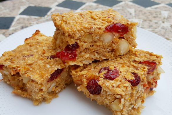 Fruit-Sweetened Orange, Cranberry and Macadamia Nut Flapjacks