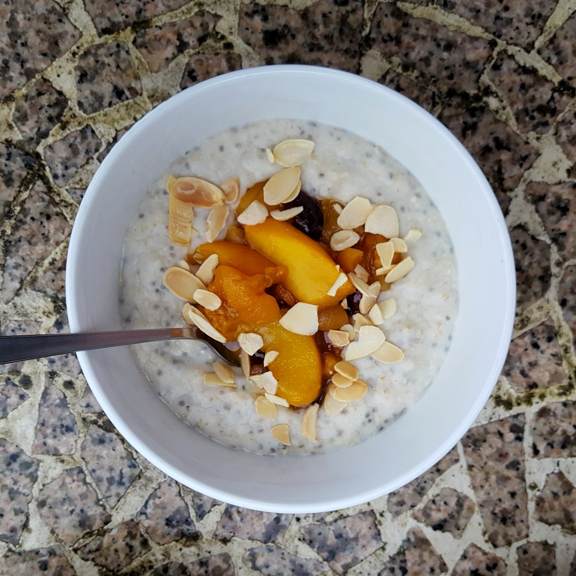 Porridge with Spiced Peach and Apricot Compote