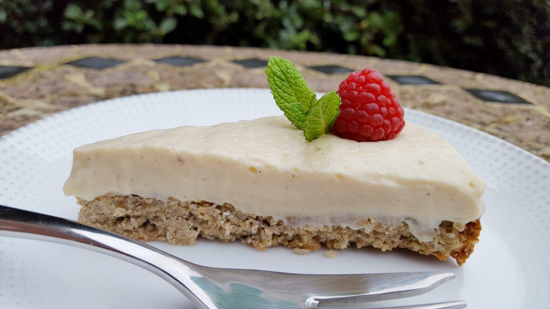 Creamy Lemon-Vanilla Vegan Cheesecake with a Crunchy Maple Crust