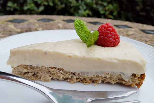 Creamy Lemon-Vanilla Vegan Cheesecake with a Crunchy Maple Crust